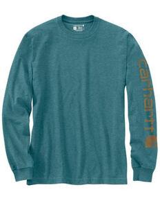 Carhartt Men's Heather Grey Logo Heavyweight Graphic Long Sleeve Work T-Shirt , Heather Grey, hi-res