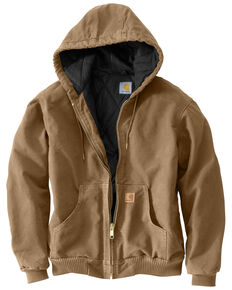 Carhartt Flannel Lined Sandstone Active Jacket - Big and Tall, Walnut, hi-res