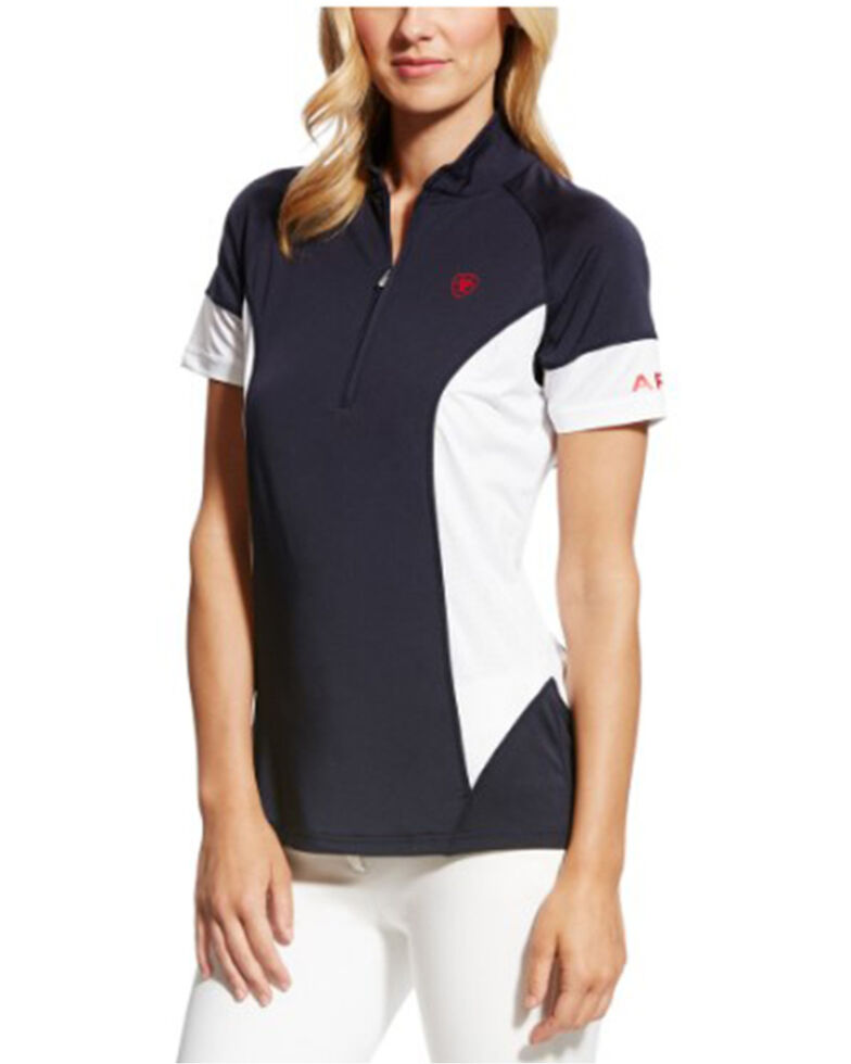 Ariat Women's Cambria Team Jersey 1/4 Zip Short Sleeve Baselayer , Multi, hi-res