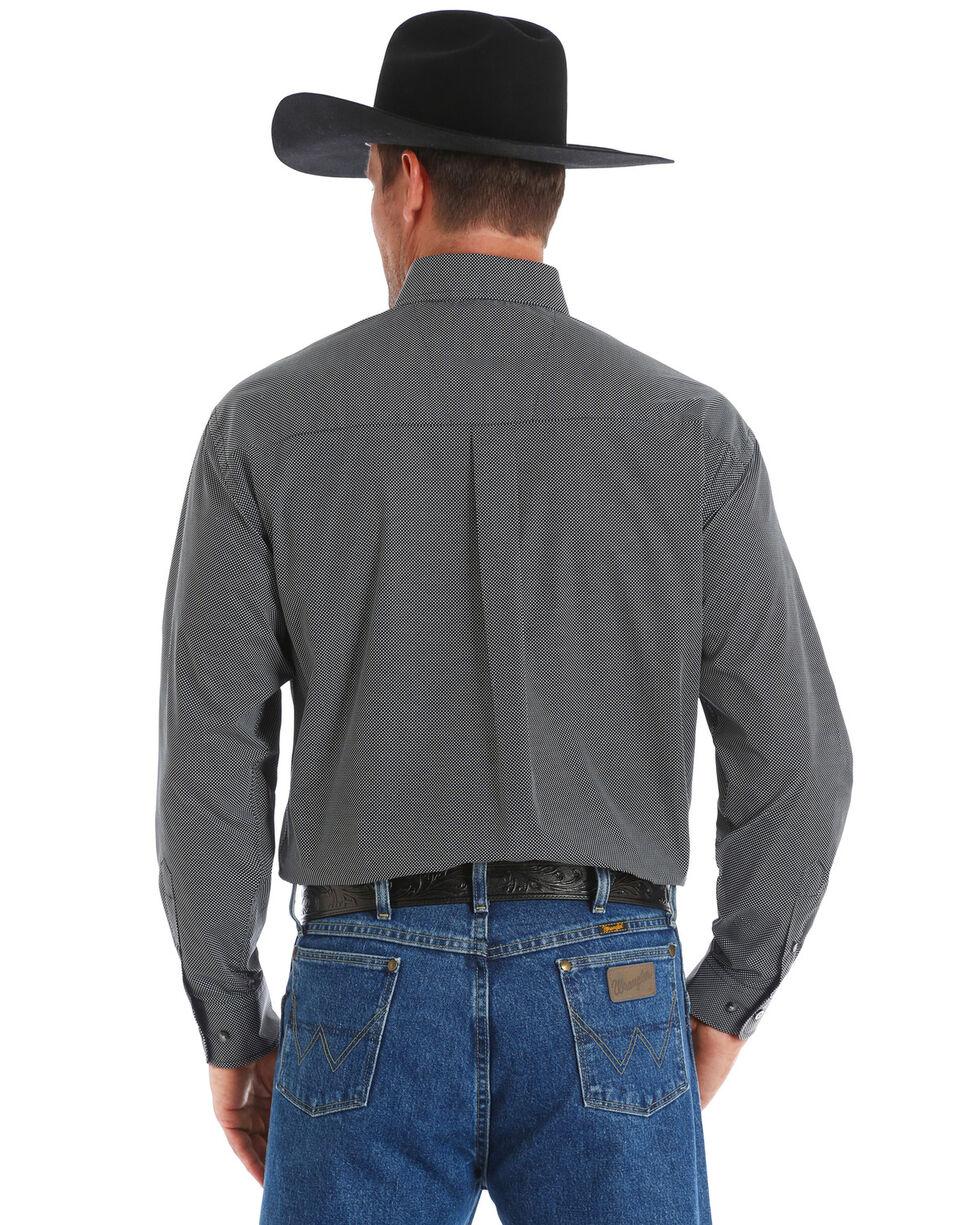 George Strait by Wrangler Men's Dotted Print Long Sleeve Western Shirt , Black, hi-res