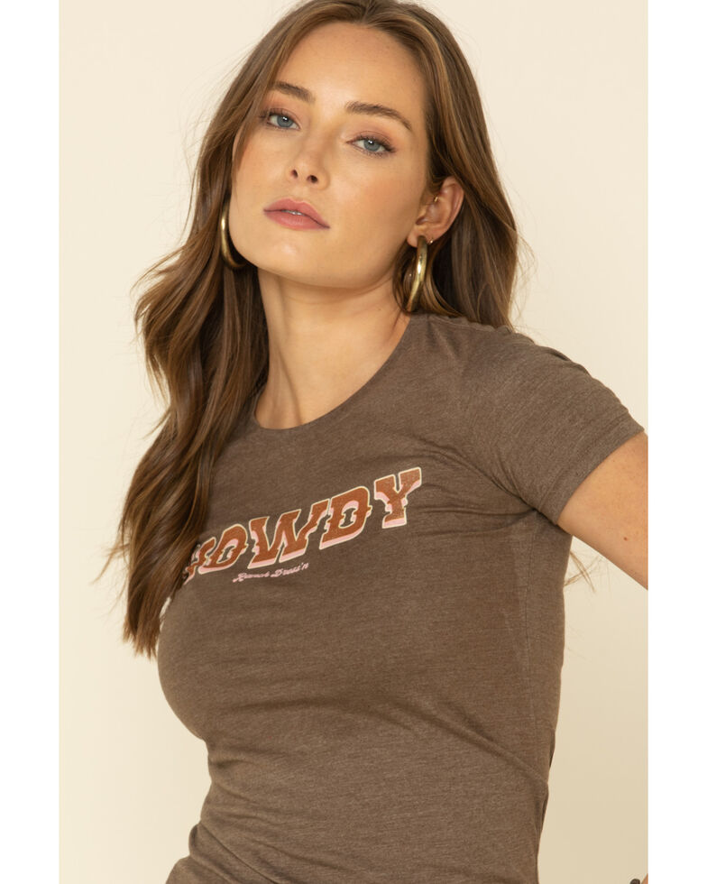 Ranch Dress'n Women's Howdy Graphic Tee , Brown, hi-res