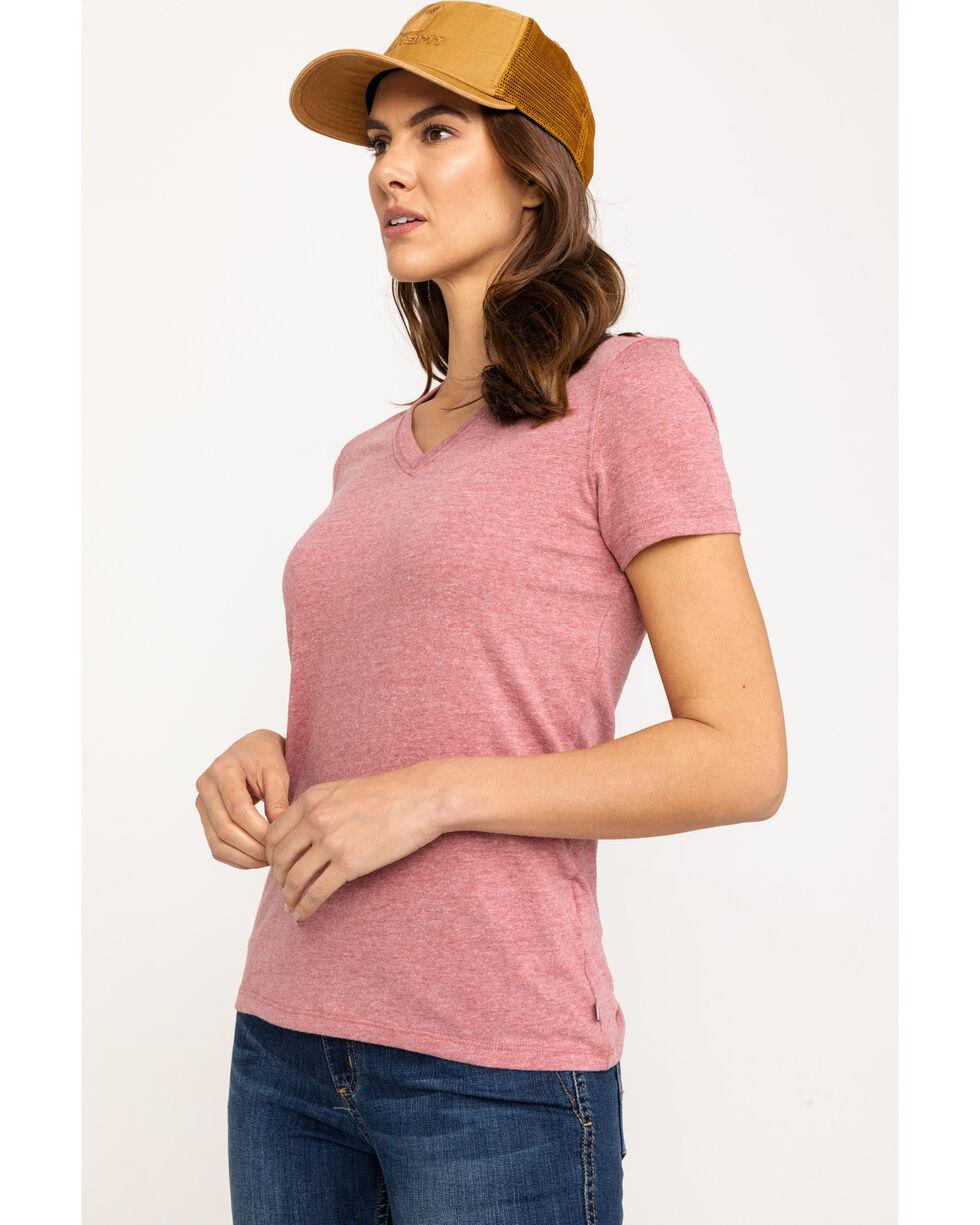 Carhartt Women's Heather Orange Lockhart V-Neck Short Sleeve T-Shirt, Heather Orange, hi-res