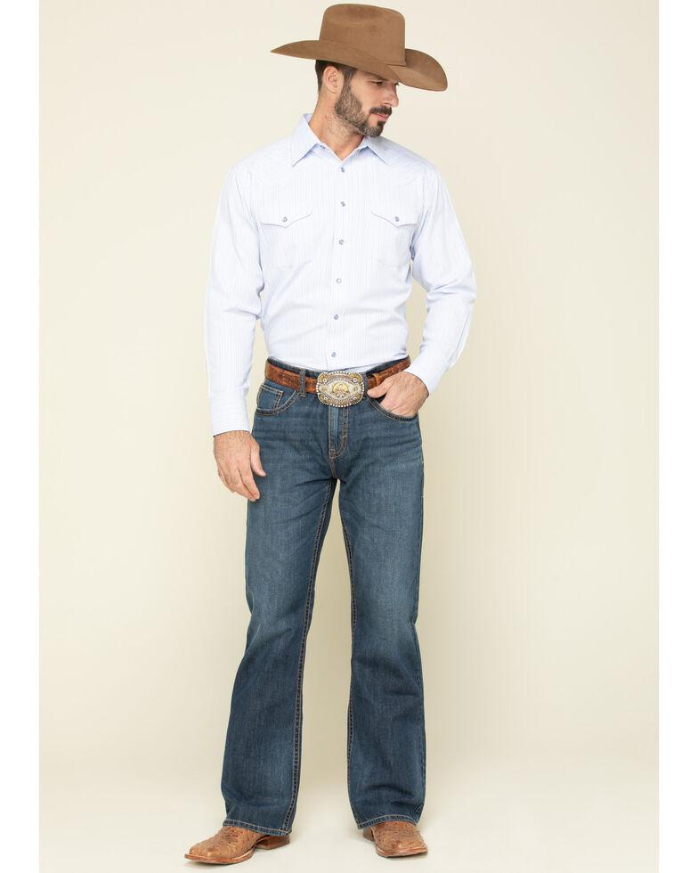 Panhandle Men's Light Blue Satin Stripe Long Sleeve Western Shirt , Blue, hi-res