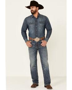 Rock & Roll Denim Men's Double Barrel Medium Vintage Wash Stretch Relaxed Straight Jeans , Blue, hi-res