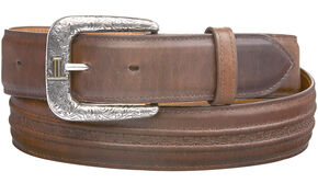 Lucchese Men's Burnished Calf Smooth Leather Belt, Tan, hi-res