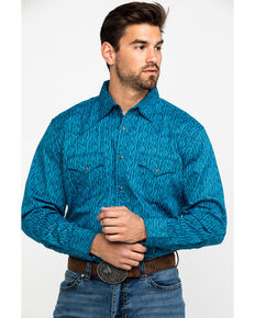 Wrangler 20X Men's Advanced Comfort Dark Blue Print Long Sleeve Western Shirt , Blue, hi-res