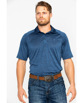 Ariat Men's TEK Charger Short Sleeve Polo Shirt , Blue, hi-res