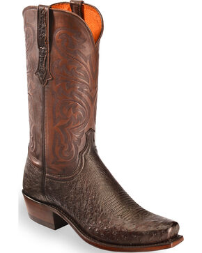 Lucchese Men's Handmade Dark Brown Nathan Smooth Ostrich Boots - Snip Toe, Dark Brown, hi-res