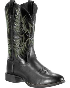 Ariat Men's Heritage Stockman Cowboy Boots - Round Toe, Black, hi-res
