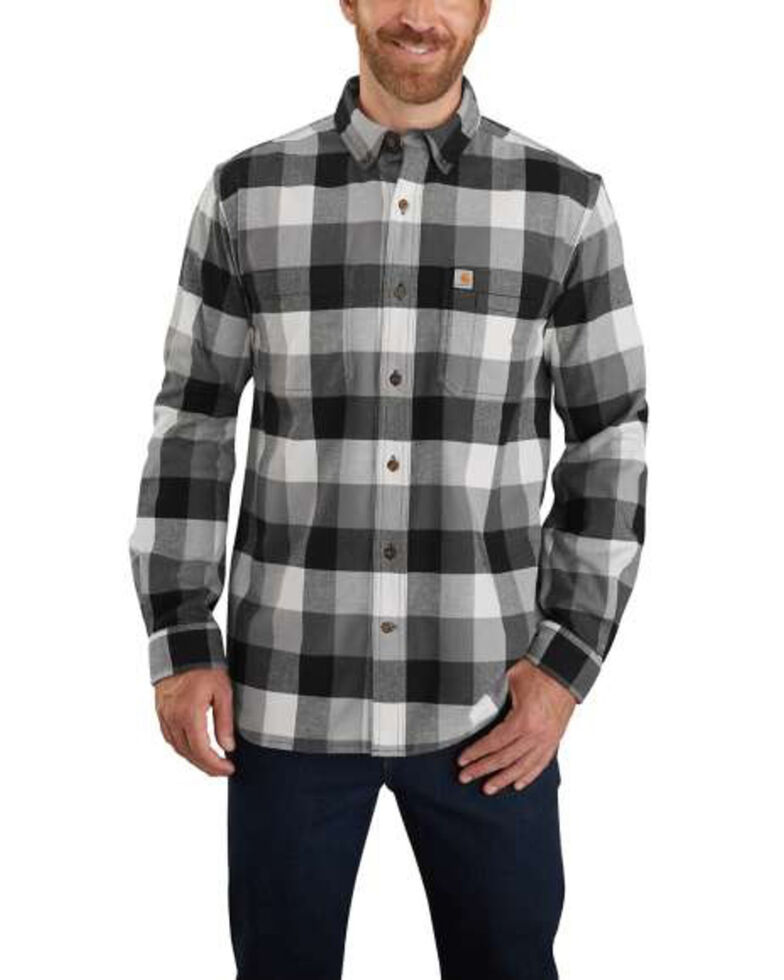Carhartt Men's Steel Hamilton Plaid Long Sleeve Flannel Work Shirt - Big, Steel, hi-res