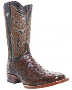 Tanner Mark Men's Ave Ostrich Print Western Boots - Wide Square Toe, Brown, hi-res