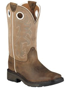 Ariat Child Distressed Workhog Boots - Soft Toe , Brown, hi-res