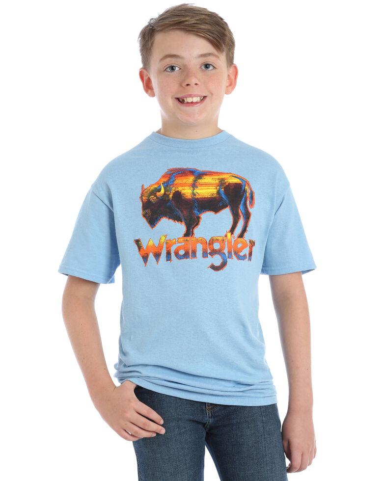 Wrangler Boys' Sunset Buffalo Graphic T-Shirt , Light Blue, hi-res