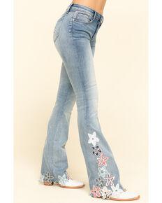 Driftwood Women's Light Wash Floral Hem Isabel Flare Jeans, Blue, hi-res