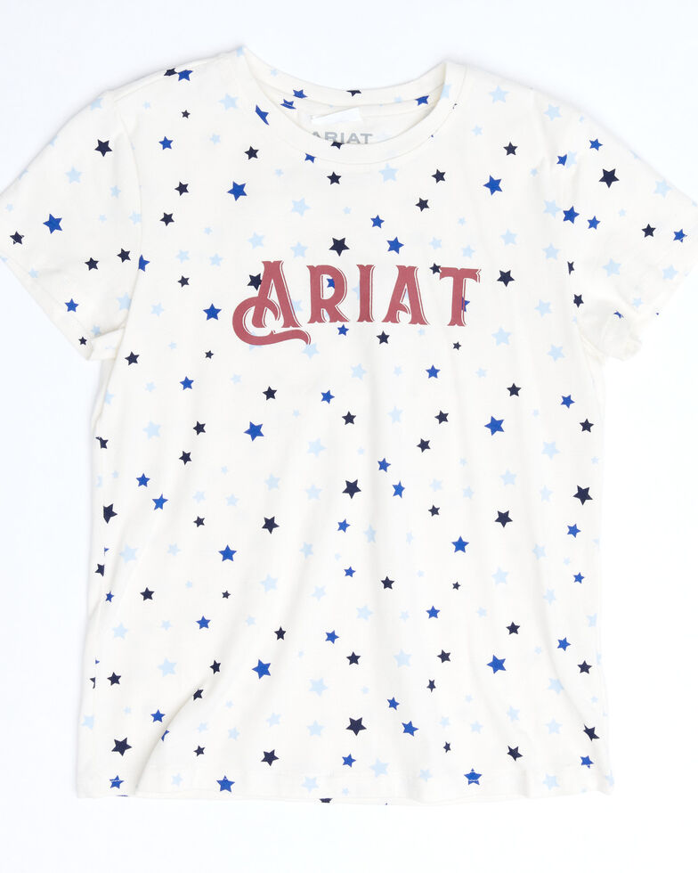 Ariat Girls' R.E.A.L Bespangled Star Print Logo Graphic Short Sleeve Tee, White, hi-res