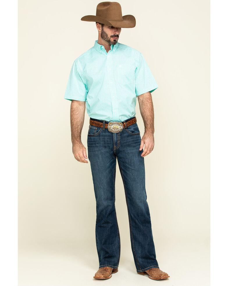 Ariat Men's Mint Rexbury Small Plaid Short Sleeve Western Shirt , Light Green, hi-res