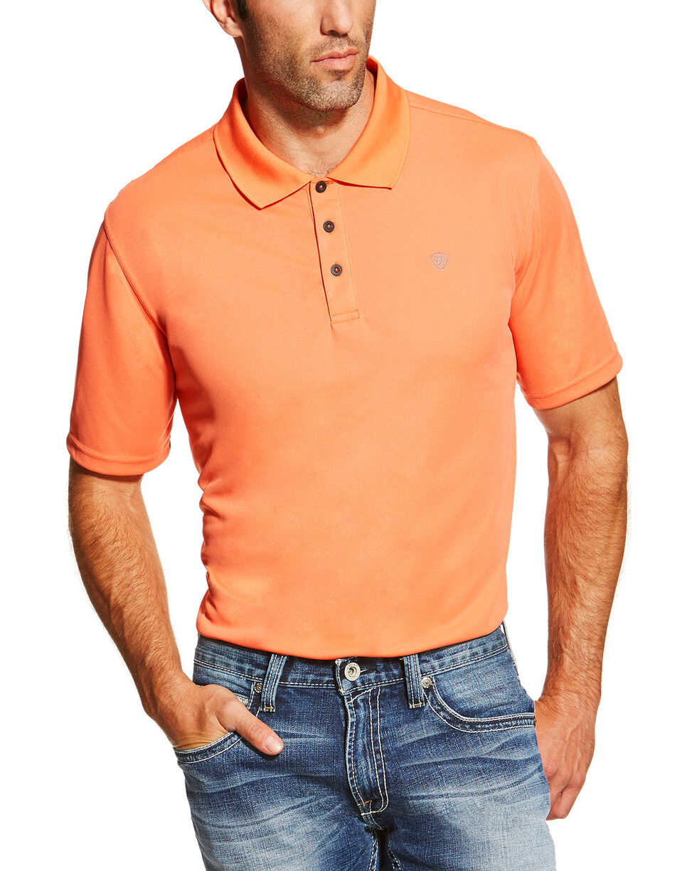 Ariat Men's Heat Series Tek Camelia Polo , Orange, hi-res
