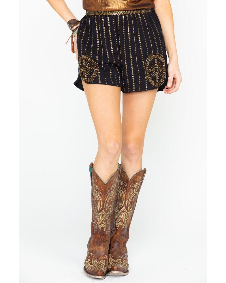 Angie Women's Beaded Sequin Chiffon Shorts  , Gold, hi-res