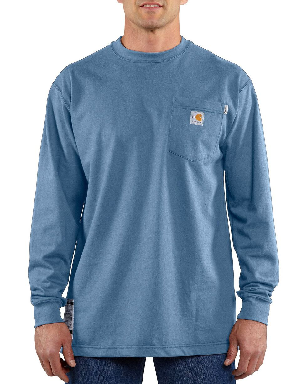 Carhartt Flame-Resistant Long-Sleeve Work Shirt - Big & Tall, Med Blue, hi-res
