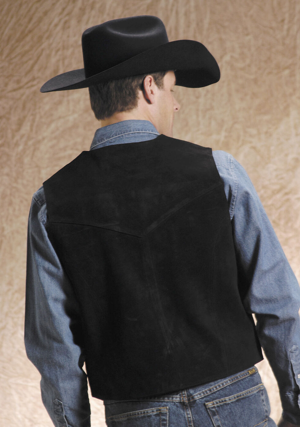Roper Suede Vest - Big & Tall, Black, hi-res