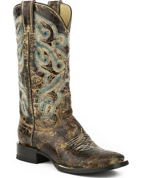 Stetson Women's Sadie Distressed Brown Western Boots - Square Toe, Brown, hi-res