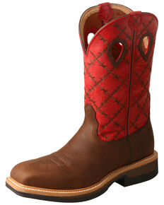 Twisted X Men's Lite Cowboy Western Work Boots - Alloy Toe, Brown, hi-res