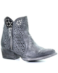 Corral Women's Grey Cutout Fashion Booties - Round Toe, Grey, hi-res