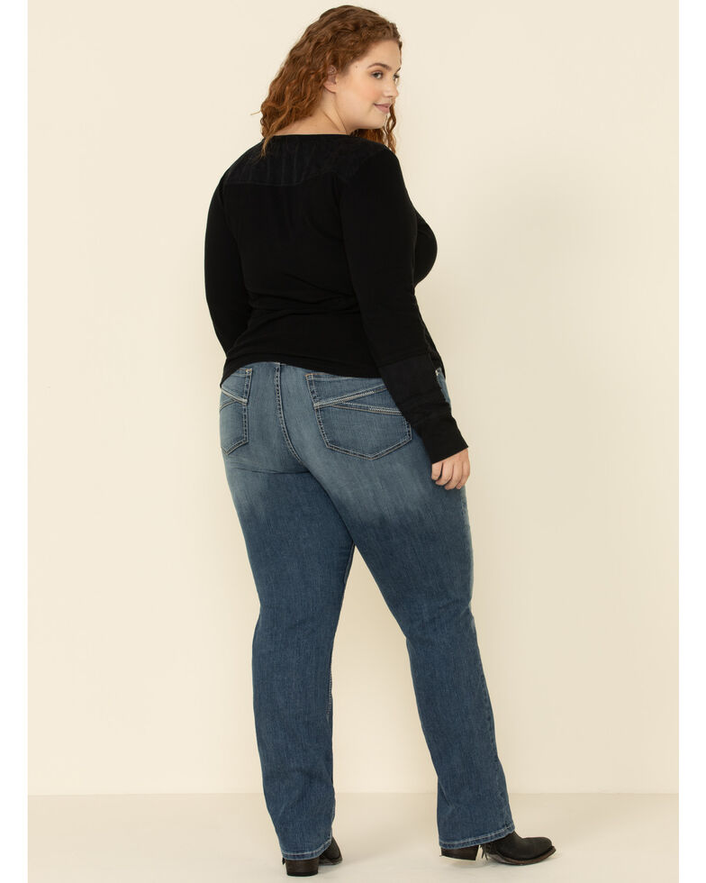Ariat Women's R.E.A.L. Presley Straight Jeans - Plus, Blue, hi-res