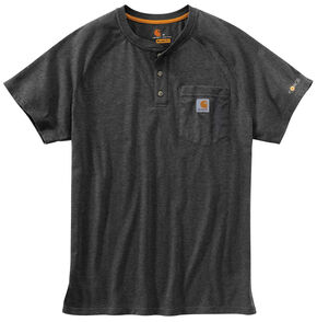 Carhartt Force Cotton Henley Short Sleeve Work Shirt - Big & Tall, Hthr Grey, hi-res
