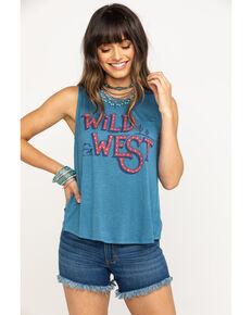 Miss Me Women's Wild West Split Back Tank Top, Blue, hi-res