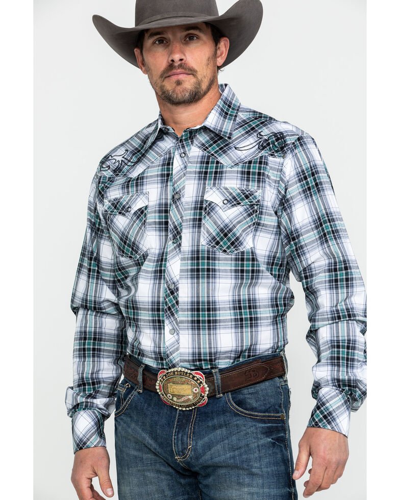 Rock 47 By Wrangler Embroidered Plaid Long Sleeve Western Shirt  , Black, hi-res