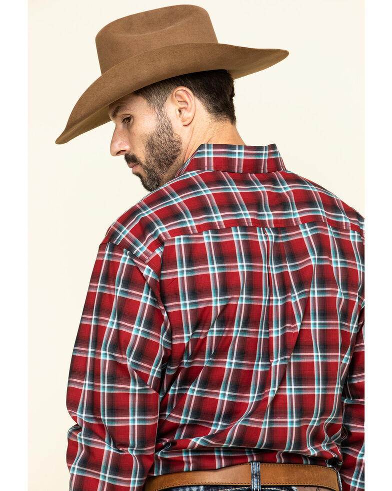 Cinch Men's Large Red Plaid Long Sleeve Western Shirt , Red, hi-res
