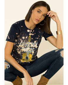 Bohemian Cowgirl Women's Navy Country Music Bleached Graphic Tee , Navy, hi-res