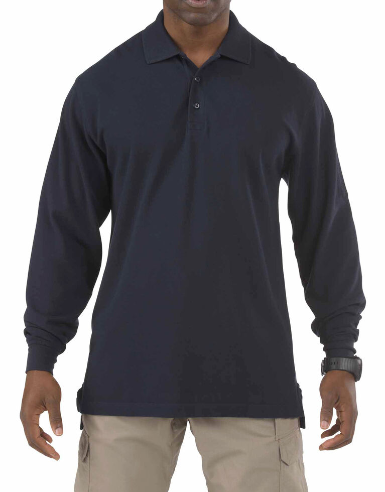 5.11 Tactical Professional Long Sleeve Polo Shirt - 3XL, Navy, hi-res