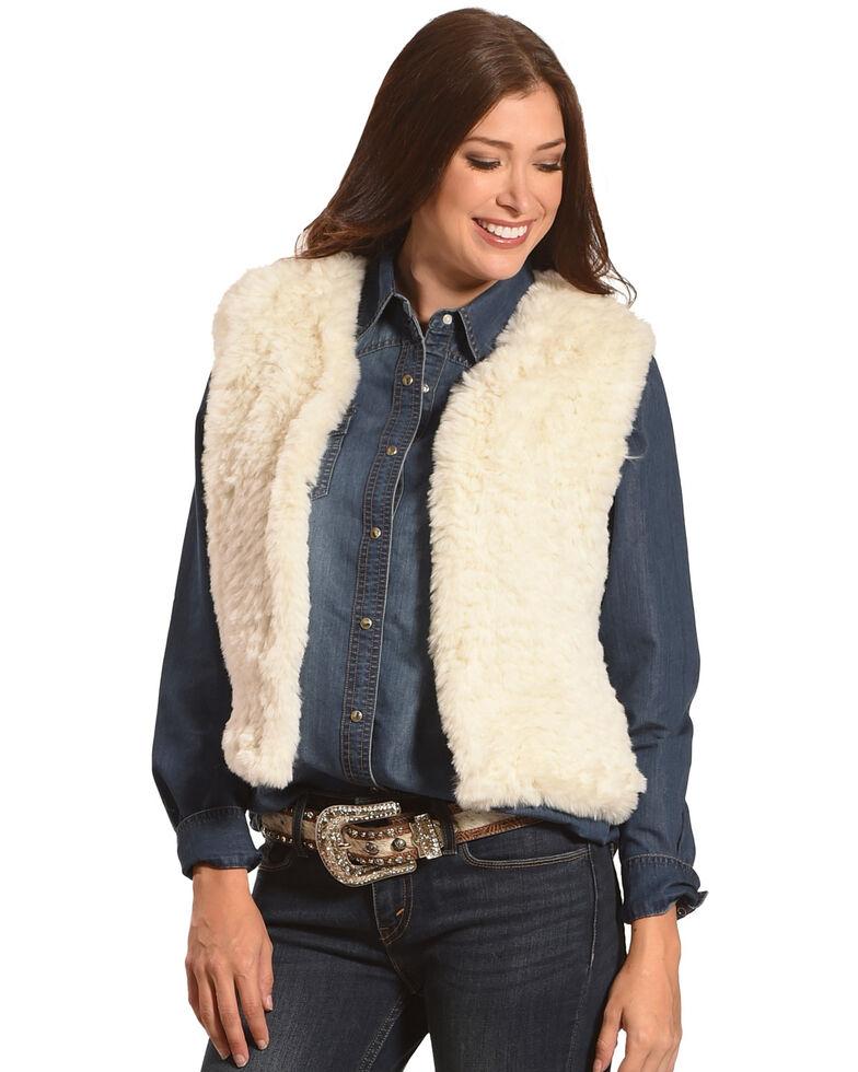 Tractr Women's Faux Fur Vest , Cream, hi-res