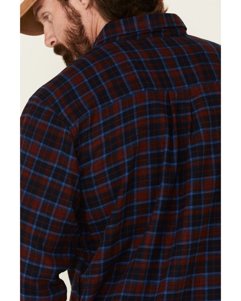 Wrangler Rugged Wear Men's Red Blue Ridge Long Sleeve Western Flannel Shirt , Red, hi-res