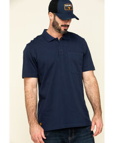Hawx Men's Navy Miller Pique Short Sleeve Work Polo Shirt , Navy, hi-res