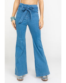 Flying Tomato Women's Dark High Waist Tie Front Trousers , Light Blue, hi-res