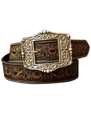 Roper Women's Brown Floral Embossed Belt , Dark Brown, hi-res