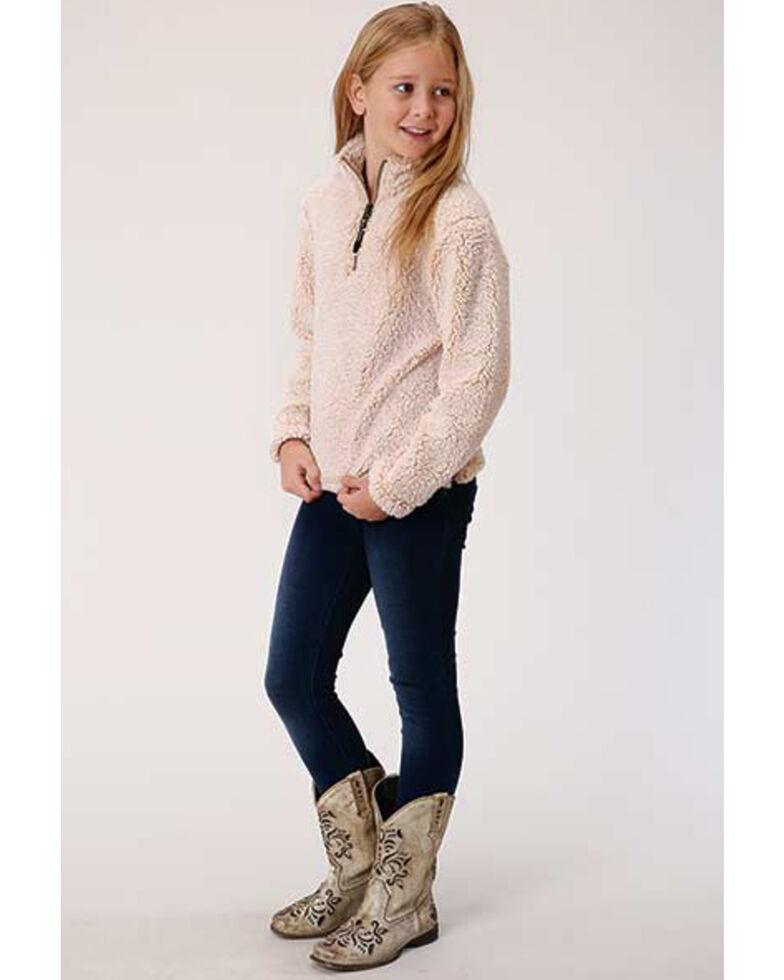 Roper Girls' Ivory Fuzzy Polar Fleece 1/4 Zip Pullover, Ivory, hi-res