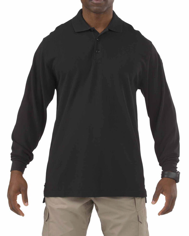 5.11 Tactical Professional Long Sleeve Polo Shirt - 3XL, Black, hi-res