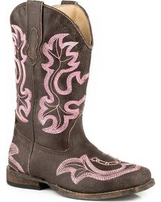 Roper Girls' Rhinestone Horseshoe Cowgirl Boots - Square Toe, Brown, hi-res