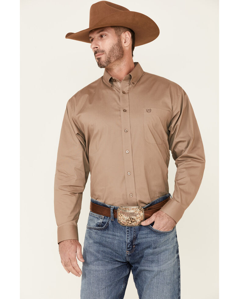 Panhandle Select Men's Solid Stretch Long Sleeve Button-Down Western Shirt , Taupe, hi-res