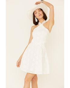 Miss Me Women's Fit & Flare Halter Dress, Off White, hi-res