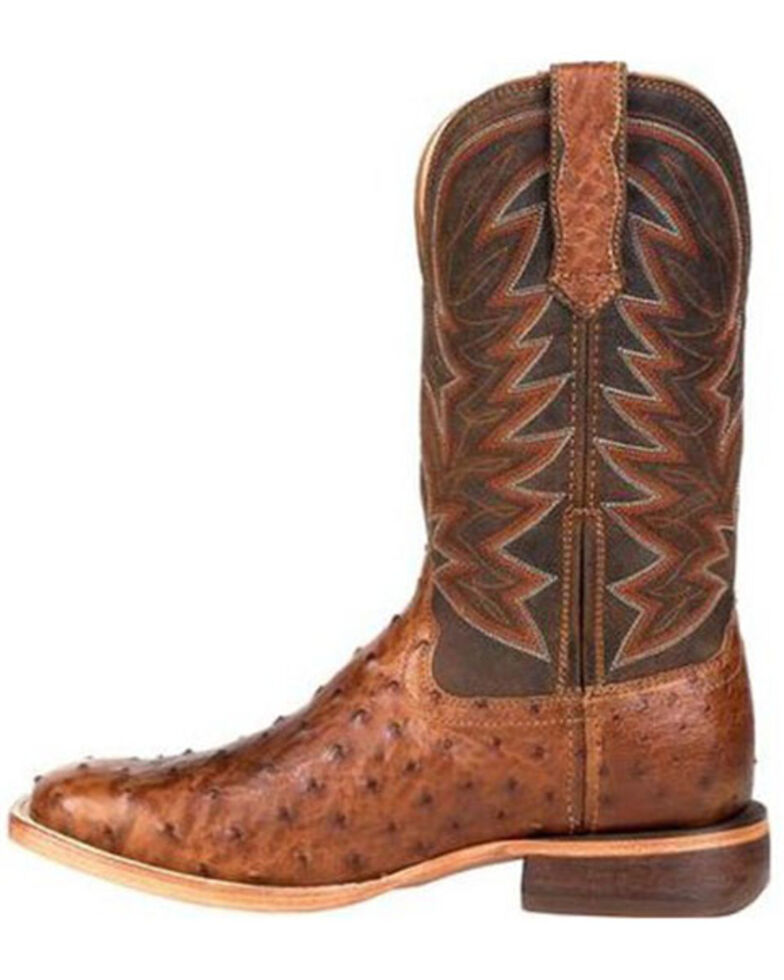 Durango Men's Wheat Brown Exotic Full-Quill Ostrich Western Boots - Square Toe, Brown, hi-res
