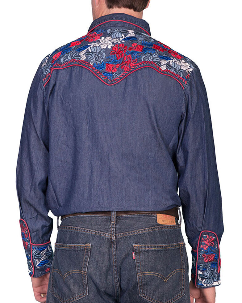Scully Men's Vibrant Floral Embroidered Retro Long Sleeve Western Shirt, , hi-res