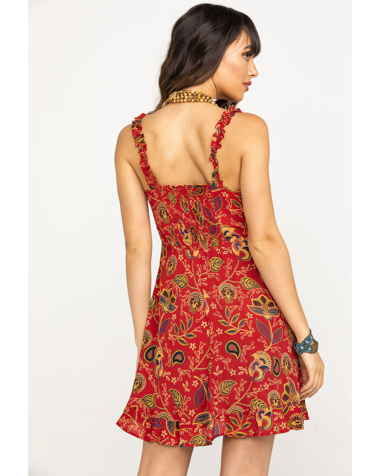 Angie Women's Paisley Lace Up Dress, Red, hi-res