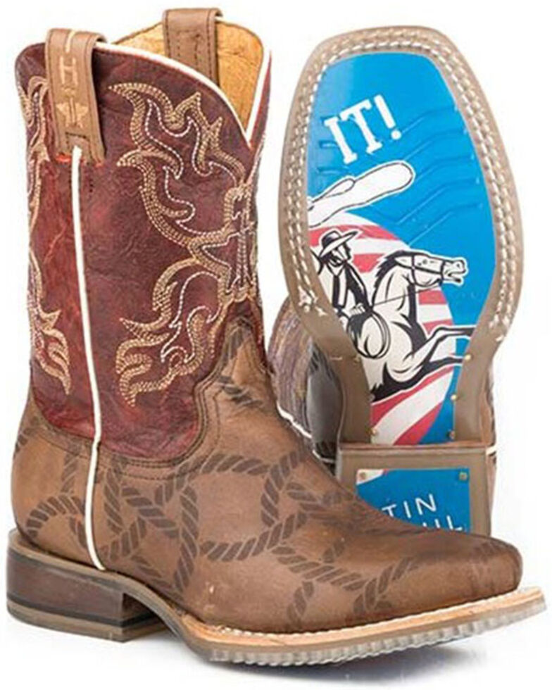 Tin Haul Boys' Twisted Rope Western Boots - Square Toe, Tan, hi-res