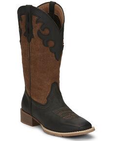 Justin Women's Lattie Square Toe Western Boots, Black, hi-res