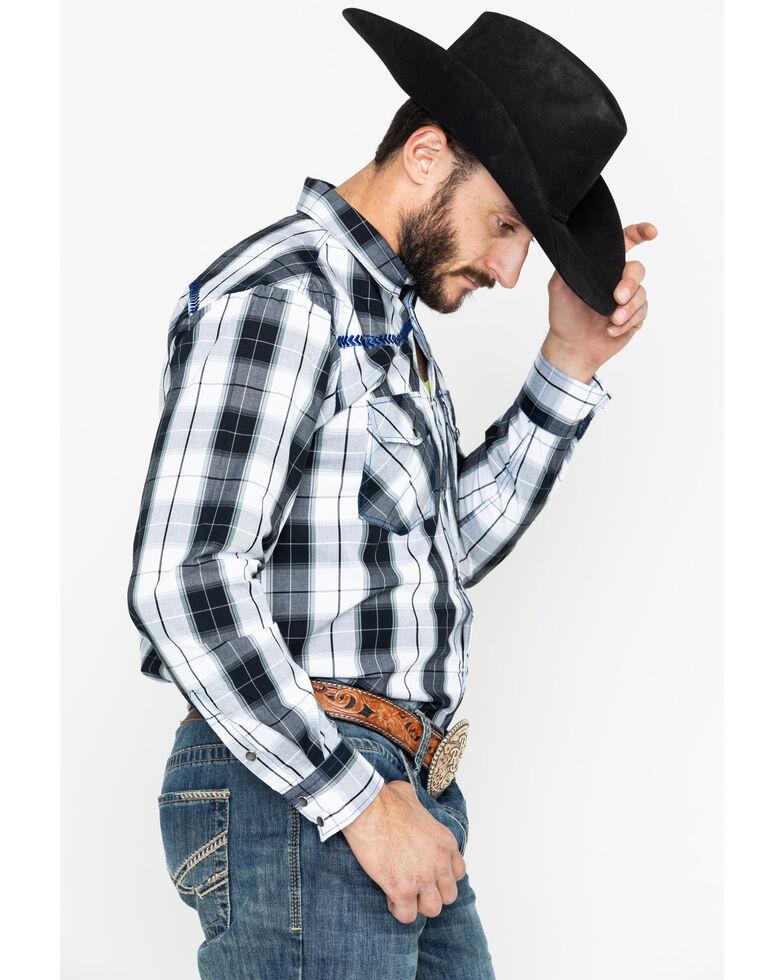 Cowboy Hardware Men's Block Plaid Long Sleeve Western Shirt , Black, hi-res